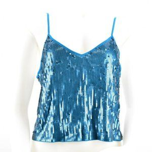 * Express Womens Sequin Spaghetti Strap Crop Top